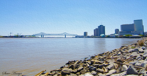 New Orleans Bridge off the Mississippi River