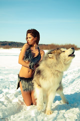 Husky Girls (Grigor_M) Tags: winter girls wild people woman dog snow cute sexy beauty animals female husky gorgeous makeup 5d markii