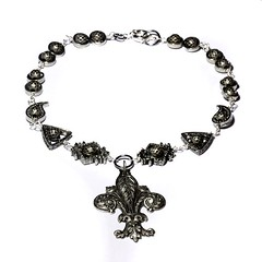 Steampunk Jewelry - Necklace - Silver Tone Fleur de Lis - Designs Exclusively by CatherinetteRings (Catherinette Rings Steampunk) Tags: