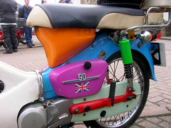Matlock C90 run (Lawrence Peregrine-Trousers) Tags: blue red orange green bike honda cub purple rally run motorbike colored psychedelic coloured multi c70 c50 c90 bimble ffffffffff c90club agthering