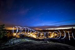 Spinning light (Joakim Berndes) Tags: city sky lamp night canon circle stars lights nightshoot cc creativecommons april sverige universe geotag natt nattfoto tystberga stjärnor samyang 2013 södermanlandslän berndes rymden canon6d fotose stjärnbild jberndes joakimberndes