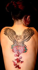 Owl Tattoo Back Piece (Tombstone's Tattoo Gallery) Tags: backtattoos womenwithtattoos owltattoos animaltattoos tattoosforwomen longislandtattooshops tombstonestattoogallery