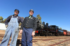 NM25 - The Crew (Wings and Wheels) Tags: railroad heritage train bush south volunteers rail railway australia historic steam crew ranges fireman pichi driver outback locomotive southaustralia flinders preservation steamtrain quorn richi flindersranges prr pichirichi pichirichirailway railwaypreservation