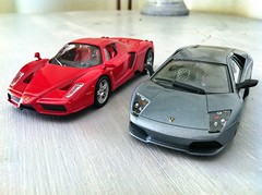 LP640 and Enzo (Scuderia Phoenicia's Hobby and Die-cast models) Tags: red yellow grey model photoshoot ferrari collection enzo lamborghini lineup murcielago fabbri f50 143 minichamps fxx reventon hachette lp640 altaya 599xx grigrioavalon