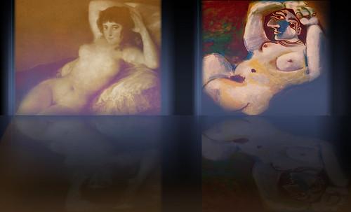 "Majas, homenajes de Francisco de Goya y Lucientes (1802), Eugéne Delacroix (1826), Amadeo Modigliani (1916), Pablo Picasso (1906), (1931), (1959), (1964). • <a style=""font-size:0.8em;"" href=""http://www.flickr.com/photos/30735181@N00/8747970458/"" target=""_blank"">View on Flickr</a>"