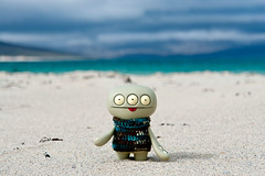 Uglyworld #1934 - Luskentyres - (Project Cinko Time - Image 140-365) (www.bazpics.com) Tags: ocean blue sea green beach wool project toy island scotland blog sweater sand aqua action crochet vinyl scottish website figure western 365 harris outer adventures uglydoll isle isles hebrides uglydolls luskentyre cinko uglyworld 2013 barryoneilphotography uglyadventures