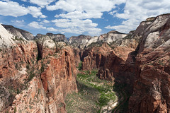 View from Angel's Landing (no3rdw) Tags: park clouds river outdoors utah dangerous rocky hike landing virgin trail national angels zion steep