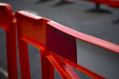 Barrier (Cris Ward) Tags: road uk red orange white color colour london wall digital warning fence 50mm prime construction colorful glow bright britain sony working vivid barrier alpha f18 dslr amateur beginner a450 50mmdtsam