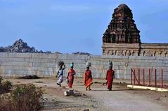 DSC_1415 (rajashekarhk) Tags: villagers returningfromwork eventing hkr heritage hampi vijayanagarakingdom worldheritagemonement karnataka southindia sky blue beauty backhome travel tourism temple rajashekar red r