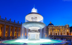 Blue Hour at the Vatican. (JayRao) Tags: landscapes italy april 2015 jayr rome stpeter basilica vatican city fountain nikon d610 nikkor 1424 fx blue hour europe