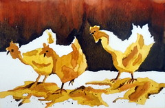 Three chickens, by Ana Paula  - DSC03880 (Dona Minúcia) Tags: art painting watercolor study paper animal bird chicken arte pintura aquarela galinha galo ave 3 three três