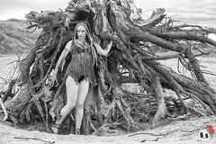 _MG_9743 (Deadly Darling DP) Tags: beach sand nature outdoors dreadlocks gothic goth woman chick tattoos makeup log driftwood tree roots black white bw