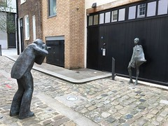 Statues of Terence Donovan photographing the model Twiggy outside his studio in Mayfair in the 60s. (juliavhill) Tags: bourdonplace mayfair uk england london statues statue photography photographer 1960slondon swinging60s 60s 1960s twiggy terencedonovan