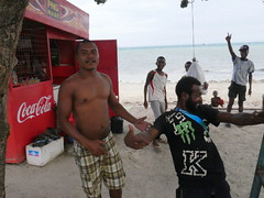 Guys having fun down by The beach