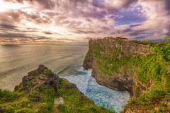 Sunset at Uluwatu... (palashmitter) Tags: sunset ocean sea landscape highdynamicrange hdr cliff uluwatu temple bali indonesia seascape clouds canoneos550d wideangle