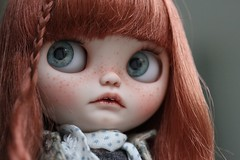 JUNO (andreeamariuka) Tags: blythe custom mariuka mariukadolls doll prairieposie cute carving freckles faceup redhead fringe teeth openmouth puppelina eyechips shy child