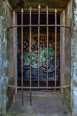 Bars-GraffitiAFAA (john.cote58) Tags: california sanfrancisco marinheadlands graffiti bars window cement abandoned military fortcronkhite fortbarry color urban rural rust old antique aged metal steel iron graphic art josephyvoncote paint texture