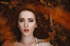 Autumn ({jessica drossin}) Tags: jessicadrossin leaves portrait leaf overlays fall autumn red hair head woman girl lady freckles face photography portraiture wwwjessicadrossincom