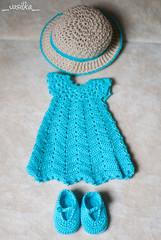 for etsy (_vasilka_) Tags: handmade knit knitting crochet clothes doll etsy littlefee yosd dress hat summer cotton