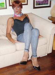 Karen (Karen Maris) Tags: tg tgirl tgurl pantyhose tights leggings redhead heels highheels crossdresser transvestite transsexual karen legs transgender crossdress scarf