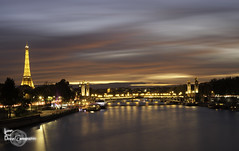 Ending day (Lonely Soul Design) Tags: paris eiffel tower sky burning light clouds evening long exposure red colour