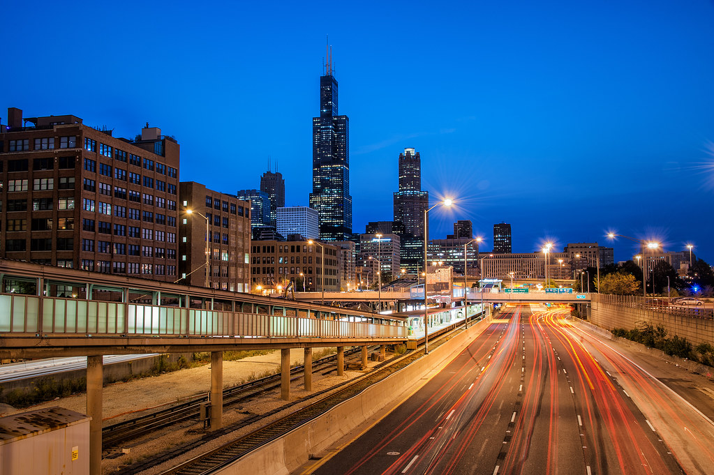 Some light trails on The Ike during blue hour.