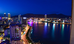 Night City (free3yourmind) Tags: night city danang vietnam asia lights river blue hour mountains