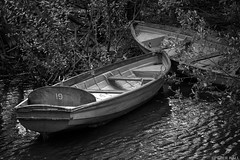 19 (peterphotographic) Tags: img6783sefexedwm canon g15 peterhall hollowponds eastlondon snaresbrook wanstead london england uk britain eppingforest epping silverefexpro2 blackandwhite bw monochrome pond water boat vessel 19 nineteen moored rowingboat pair two 2