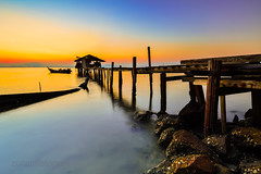 Eternity (zollatiff) Tags: morning travel sea sky seascape nature water colors sunrise landscape dawn boat nikon scenery rocks jetty horizon peaceful hut malaysia serene penang tranquil waterscape jelutongexpressway
