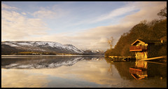 Duke of Portland Boathouse, Ullswater (Rob McBride) Tags: uk trees light england water clouds sunrise reflections dawn nikon shadows lakes lakedistrict cumbria boathouse mcbride d800 ullswater pooleybridge robmcbride dukeofportland nikond800 dukeofportlandboathouse robertmcbride