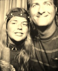 Ken and Lois - photobooth - late 60s or early 70s (Richard Cody) Tags: sepia parents photobooth scan richardcody loiscody kencody