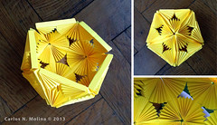 kusudama vessel - paper form (Carlos N. Molina - Paper Art) Tags: yellow basket craft vessel papercrafts papermodel puertoricanart kusudama 3dpaperart carlosnmolina puertoricanartsandcrafts origamikirigami