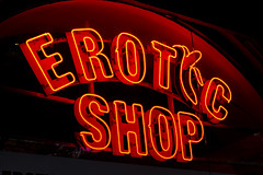 Erotic Shop (The New Motive Power) Tags: street red urban orange sign shop lights neon bright sofia bulgaria stroe   eroticshop canon7d