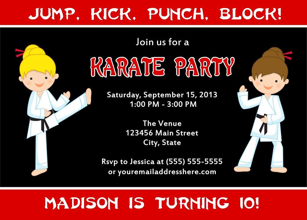 Printable Karate Birthday Party Invitation Jessica91582 Tags Boy Cute Girl Kids