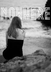 nowhere (carlo occhiena) Tags: sea blackandwhite bw beach girl typography photography seaside solitude alone nowhere font cs6 d7100metropolis