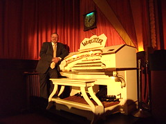 Paul Gregson, organist at the Wurlitzer organ in the Royalty Cinema Bowness on Windermere, Cumbria. (Paul Gregson) Tags: organ cumbria windermere wurlitzer bowness bownessonwindermere organist organconsole wurlitzerorgan royaltycinema paulgregson furnesstheatreorganproject
