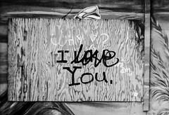 """Why? I Like Love You"" (aweiss.sf) Tags: sanfrancisco california pen graffiti blackwhite kodak olympus balmyalley penft bw400cn"