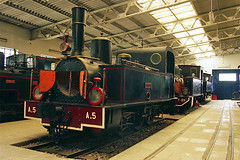 "North-eastern Greece Railways metre gauge Couillet 0-6-0T No. A5 ""Messolongion"", built 1888, in Athens Rly Museum on 17 Apr 2013 (A Scotson) Tags: trains steam greece locomotive railways narrowgauge couillet 060t metregauge railwaymuseumofathens"
