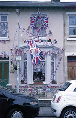Cambridge: Queenmania (christait) Tags: street uk cambridge england house fan royal flags queen celebration banners unionjack decorated fujisuperia1600 leicam3 frontwindow diamondjubilee zorky50mmf2jupiter8