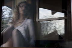 the other woman (Chiara Stevani) Tags: woman blur reflection female legs double finestra soul blonde anima ritratto donan gambe riflesso mosso doppio bionda sensuale femminile