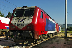 "Greek (OSE) Adtranz ""Class 220"" Diesel Greece ""Greek Railways"" Railways trains Stavros OSE Class 220 diesel loco No. 220 005 at Stavros on 26 Apr 2013 (A Scotson) Tags: diesel trains greece stavros railways ose adtranz class220 greekrailways"
