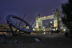Tower Bridge and compass at night (manxmaid2000) Tags: city uk england london heritage history tourism statue thames architecture night reflections river dark lights unitedkingdom capital maritime navigation compass attraction afterdark