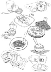 Jacari Cookbook (aneemal) Tags: food utensils illustration pen ink children recipe drawing eating line ingredients ethnic cookery