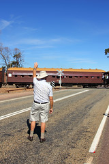 Passing wave (Wings and Wheels) Tags: railroad heritage train bush south volunteers rail railway australia historic steam ranges pichi outback locomotive southaustralia flinders preservation steamtrain quorn richi flindersranges prr pichirichi pichirichirailway railwaypreservation