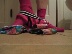 May Day Pink (weshallmeetonthebeautifulshore) Tags: pink floral socks underwear may silk tie briefs mayday undies necktie 2013