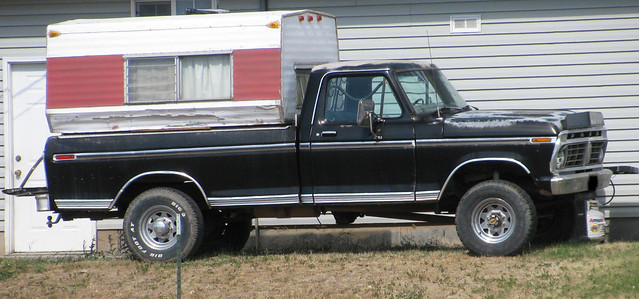 black classic ford truck vintage ranger 4x4 pickup pickuptruck faded vehicle 1970s camper 1973 sleeper bigo fourwheeldrive xlt fomoco campershell longbed f250 highboy 34ton bigotires eyellgeteven