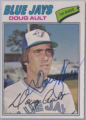 1977 O-Pee-Chee - Doug Ault #202 (b: 9 Mar 1950 - d: 22 Dec 2004 at age 54) - (Jays 16th pick in the 1976 expansion draft) - Autographed Baseball Card (WhiteRockPier) Tags: baseball card signed autographed torontobluejays opc opeechee