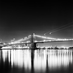 Air Traffic Over Brooklyn Bridge (Adam Garelick) Tags: city nyc newyorkcity blackandwhite 120 6x6 film monochrome architecture night mediumformat spring manhattan hasselblad manhattanbridge 100 fujineopanacros explored 2013 ilfordilfosol3 252m8