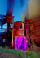 Pinked Drum Mixer (Nocturnal Kansas) Tags: longexposure nightphotography lightpainting industry night rust industrial rusty fullmoon vacant kansas derelict outofservice paintwithlight nocturnes