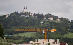 Linz Urfahr (austrianpsycho) Tags: trees church berg linz crane kirche wald kran urfahr linzfest bäume pöstlingberg pöstlingbergkirche 19052013 linzfest2013